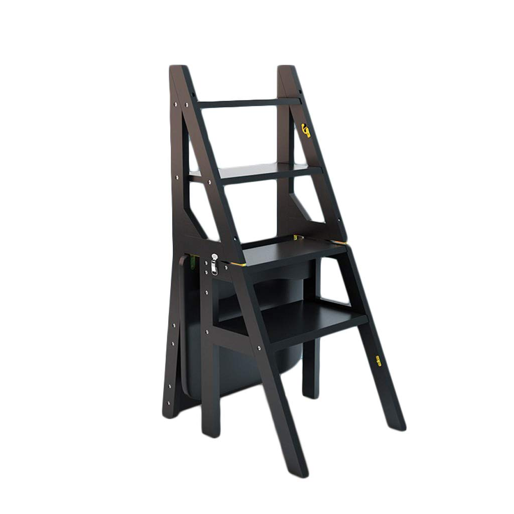 NEVY- ステップスツール 竹 家庭 多機能 ラダースツール ヘリングボーンラダー、4ステップ (色 : 黒) B07PJ6DSKF 黒