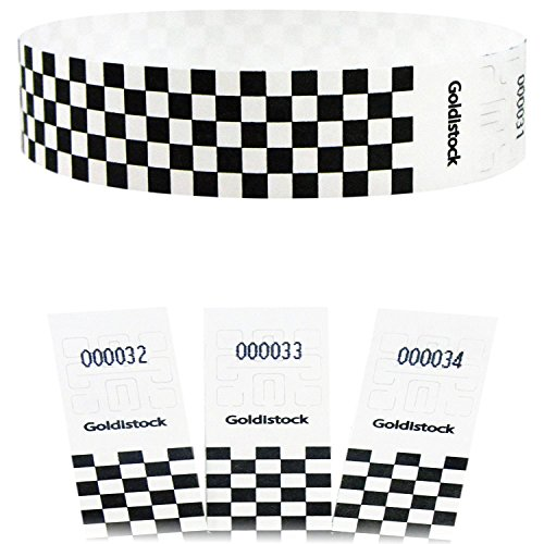 "Goldistock Select - Black Checkerboard - 3/4"" Tyvek Wristbands- 500 Count - Event Identification Bands (Paper - Like Texture)"