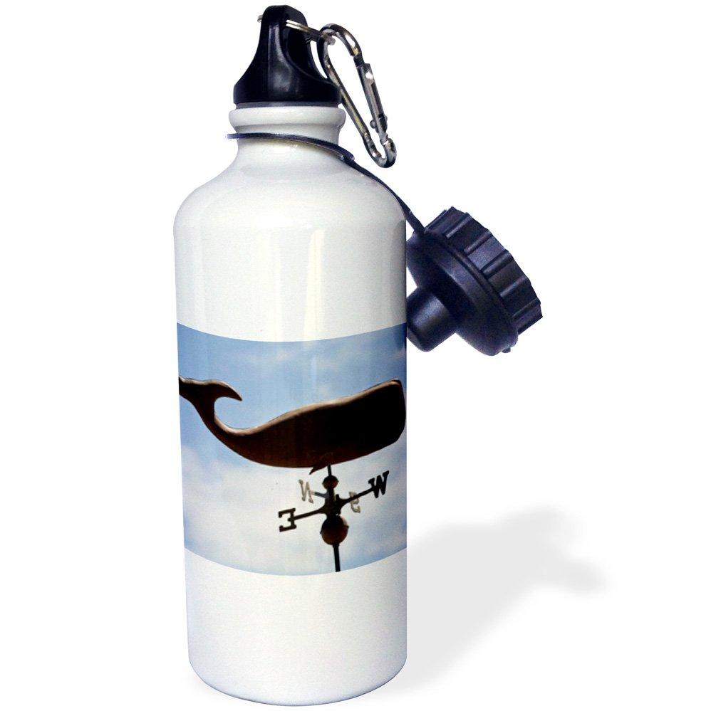 3dRose wb_76116_1''Canada, Prince Edward Island, Sperm whale weathervane-CN09 DBR0043 Dave Bart ruff'' Sports Water Bottle, 21 oz, White by 3dRose