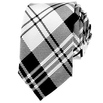 "TopTie Unisex Black and White Plaid Skinny 2"" inch Necktie"
