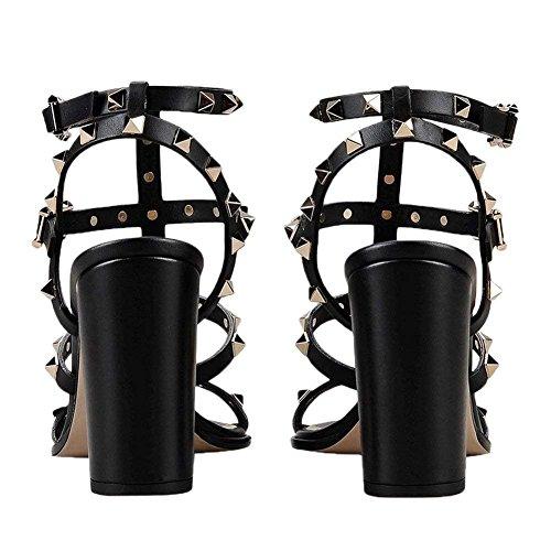 Pompes Bande Femmes Bout Ouvert Cloutéestalon 9cm Robe Chunky de Bride Chris Sandales Talons À T Noir Bloc Cheville Sandales de la de 754xvwq