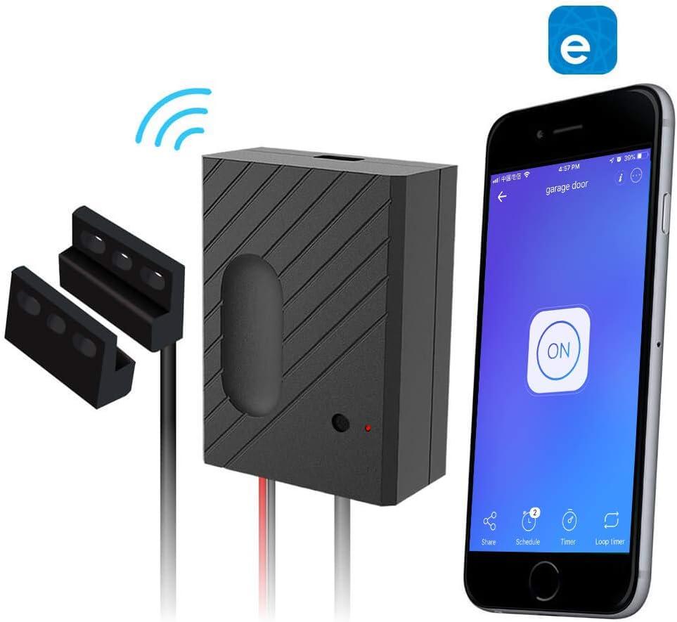 EACHEN Controlador de Puerta de Garaje WiFi funciona con Alexa/Google Home/Sonoff/Ewelink APP/IFTTT, Controle la Puerta de su Garaje desde cualquier parte del mundo