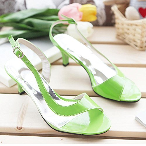 Strappy Verde Sizes Peep Toe Sandalias Tacon Mujer FANIMILA Extra Transparent Mini Moda Zapatos wgRqTnIS