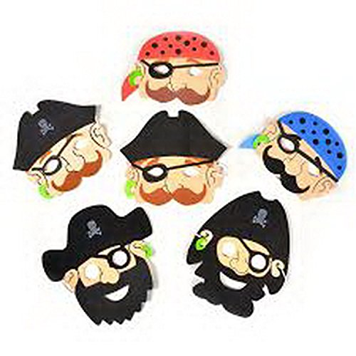 6 Foam Pirate Masks Pinata Toy Loot/Party Bag Fillers Favour Fancy Dress Kids ()