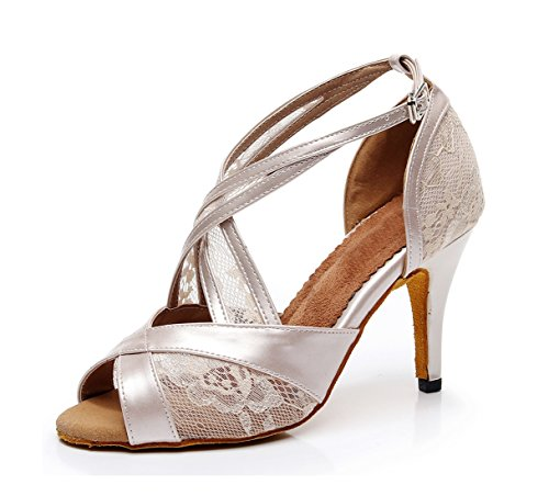 Nude MINITOO Printed Ladies Dance Synthetic 7 Sandals Mesh Latin Party Salsa Formal Shoes UK Cqq15wt