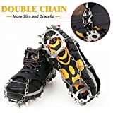 Traction Ice&Snow Cleat Spikes Crampons,Ice Grips Spikes Universal 18 Teeth Welding Chain Stainless Steel Cleats for Winter Boots Walking Hiking
