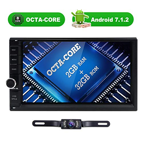 32GB + 2GB Octa Core Android 7.1 Double Din Car Stereo Radio with Bluetooth GPS Navigation 7 inch Touch Screen + Backup Camera Included - Fastboot, WiFi, USB SD, MirrorLink, AUX Input, Dash Cam