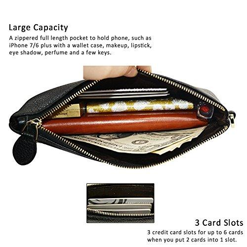 Leather Women Clutch 6s 4 Note 7 5 Wristlet plus Samsung Minimalist 6 Purse 8 iPhone Genuine Wristlet Befen Wallet Black EYw4dEq