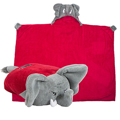 Comfy Critters Stuffed Animal Blanket - College Mascot, University of Alabama 'Big Al' - Kids Huggable Pillow and Blanket Perfect for The Big Game, Tailgating, Pretend Play, Travel, and Much More - Ncaa Snuggle Blanket
