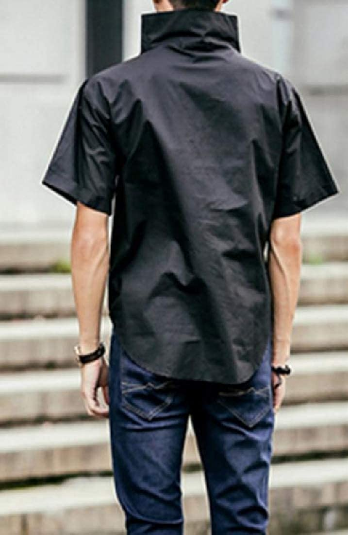 Sweatwater Mens Pure Color Leisure Turtle Neck Short Sleeve Shirt Tees