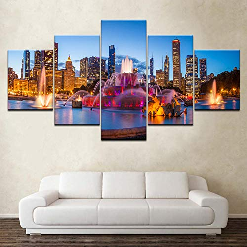 WTTLMAL Painting on Canvas Modern Pictures Decoration Frame Hd Prints 5 Pieces Chicago Buckingham Fountain Scenery Poster Wall Art Modular Paintings Canvas-25X38 25X50 25X63Cm-Framed