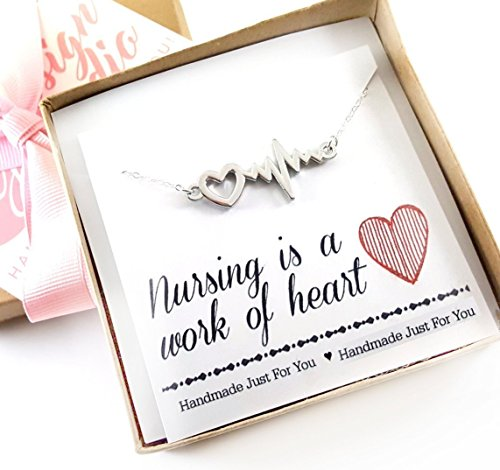 Nursing is a Work of Heart Necklace - Heart Rhythm Charm - Nurse Necklace - Heartbeat Jewelry