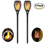 zkee Solar Torch Light With Flickering Flame,Fire Effect 96LED Lantern,Dancing Flame,Solar Garden Light, Dust to Dawn,Outdoor Waterproof Garden Decoration, Solar Powered Stick Light (set of 2)