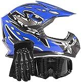 quad helmets for youth - Youth Kids Offroad Gear Combo Helmet Gloves Goggles DOT Motocross ATV Dirt Bike MX Motorcycle Blue Black, Medium