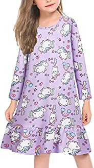 Arshiner Girls' Sleepwear Long/Short Sleeve Cat Nightgown Nightie Pajama D