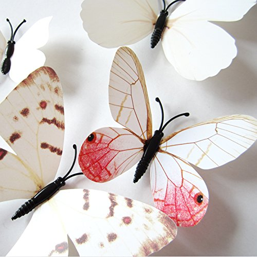 Amaonm® 60 Pcs 5 Packages Beautiful 3d Butterfly Wall Decals Removable Diy Home Decorations Art Decor Wall Stickers & Murals for Babys Bedroom Tv Background Living Room (White2) (Baby Decor Wall Stickers)