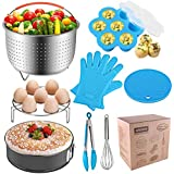 8 Pieces Accessories for Instant Pot 6, 8 Quart - Steamer Basket, Egg Rack, Springform Pan, Egg Bites Mold, Egg Beater, Pot Mitts, Silicone Mat and Food Tong for Insta Pot, Pressure Cooker,Rice Cooker
