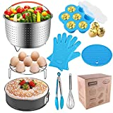 AMEON Accessories for Instant Pot 6, 8 Quart - Steamer Basket, Egg Rack, Springform Pan, Egg Bites Mold, Egg Beater, Pot Mitts, Silicone Mat and Food Tong for Insta Pot, Pressure Cooker, Rice Cooker