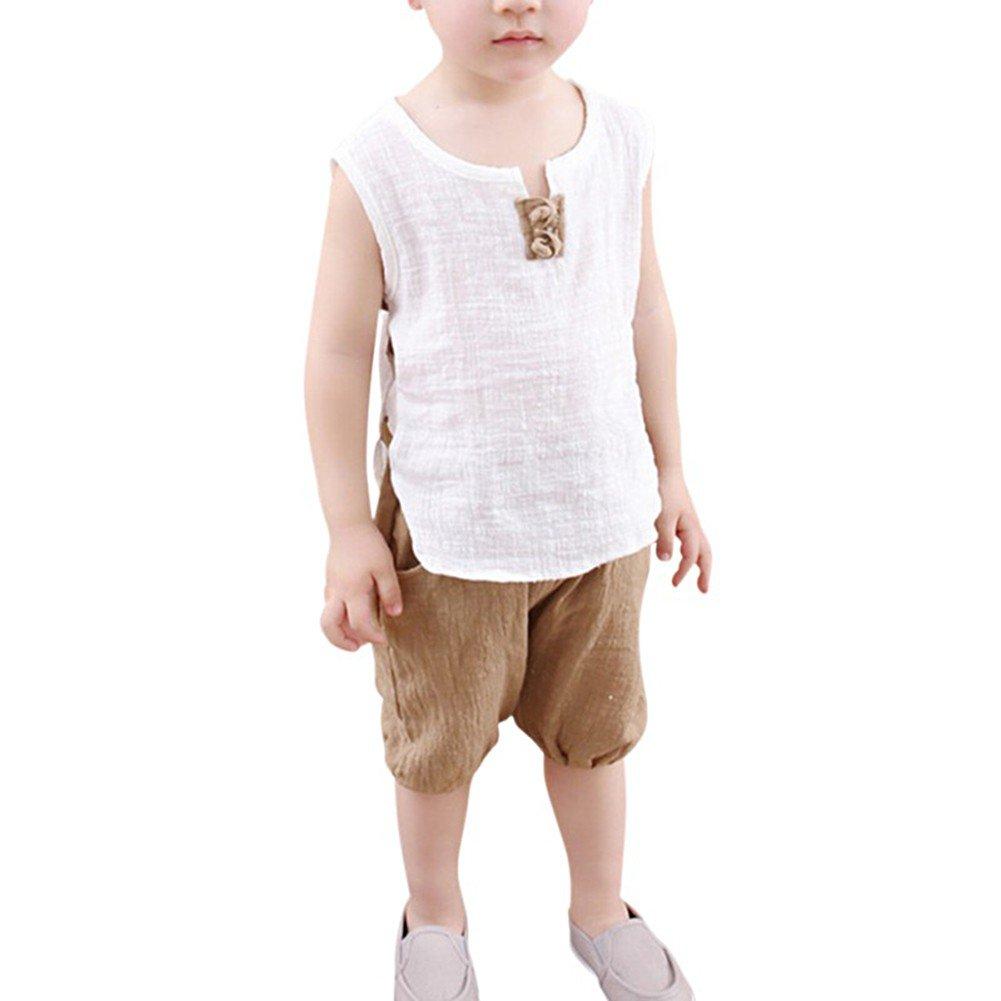 Sommeranzug für Jungen Alter 1-5 Jungen Leinen Baumwollhemd Kurze Kleidung Kinder Oberbekleidung von Bornbayb