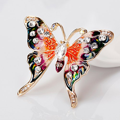 Finance Plan Women Retro Butterfly Multicolor Enamel Shiny Rhinestone Brooch Pin Jewelry Gift by Finance Plan (Image #6)