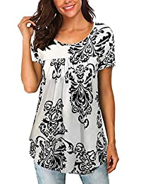 noabat Womens Casual T-Shirts Short Sleeves Ruffle Front Solid Color Blouse Tunic Tops
