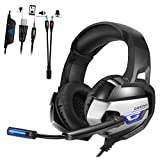 Stereo Gaming Headset for PS4,, Xbox One (Adapter Needed), Noise Cancelling Over Ear PC Gaming Headphones with Mic and Volume Control, Glaring LED Lights and Bass Surround