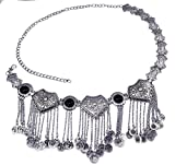 Idealway Retro Silver Plated Alloy Inlay Acrylic Beads Coin Tassel Pendant Waist Belly Dance Body Chain Women Jewelry (Black)