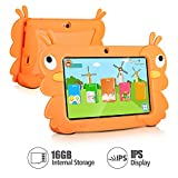 7 Inch Kids Tablet PC Quad Core 1024x600 IPS Eye Protect Display 1GB RAM 16GB Storage Bluetooth WiFi Dual Camera with Kids Educational Software Parental Control (Orange)