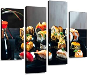 Set of Sushi and Maki roll - Japanese Food styleCanvas Wall Art Hanging Paintings Modern Artwork Abstract Picture Prints Home Decoration Gift Unique Designed Framed 4 Panel