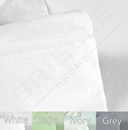 Brielle Cotton Jersey Knit (T-Shirt) Sheet Set, Queen, White (White Jersey Knit Cotton)