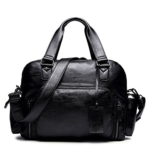 ZHUDJ Retro British Wind Pu Men'S Bag Multi-Pocket Men'S Business Information Casual Shoulder Messenger Bag Handbag Computer Bag, High 30X Width 38X Thickness 14Cm black/