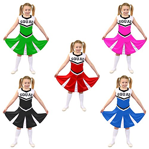 Cheerleader Fancy Dress Costume Girls High School Cheer Leader Uniform - Black (Fancy Dress Costume)