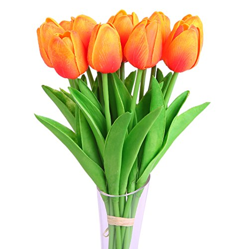 Luyue Artificial Silk Flower Mini Tulips Real Touch Flowers Bouquet For Wedding Party Decoration Pack of 12 (Sunset)