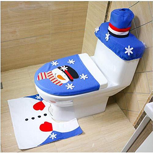 Viet-SC Toilet Seat Covers for Kids, Man, Women- Christmas Bathroom 3PCs/ Set Blue Tree Snowman Toilet Seat Cover Rug New Year Decoratie Adornos De Navidad Halloween Decoration
