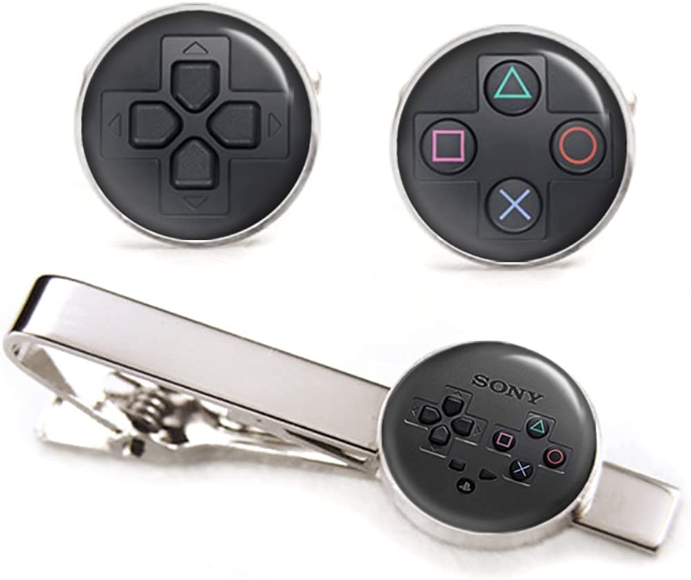 SharedImagination Playstation Cufflinks, PS PS3 PS4 Tie Clip Black Tack, Retro Gaming Jewelry, Geek Geeky Wedding Groomsmen Gifts