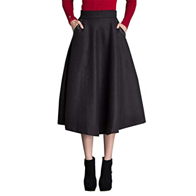 bef6d0e0b06ffc QincLing Damen Vintage Maxi Wollrock a Linie Hohe Taille Winter Röcke  Knielang Schaukelrock, Schwarz,