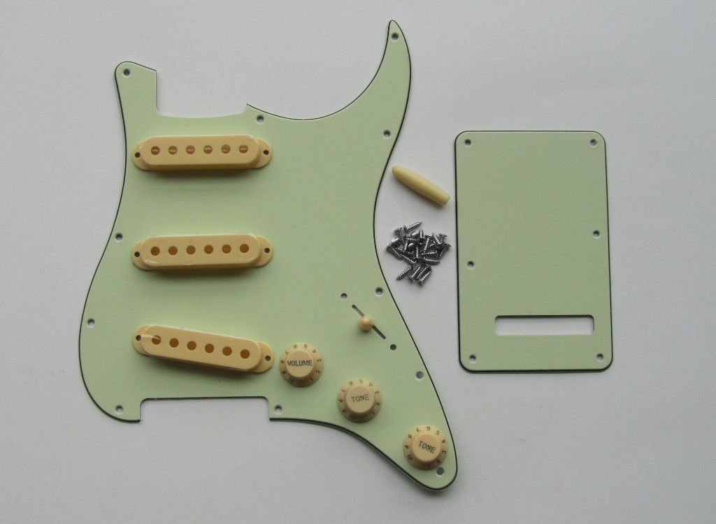 Strat Pickguard Set with Cream Knobs Tips Pickup Covers, Mint Green hero198