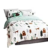 EAVD 100% Cotton Bedding Set Little Boy Reversible Cartoon Boys/Teens 3PCS Cute Animal Printing Duvet Cover Soft with 2 Pollowcases, Forest-A Comforter Covers Twin Size