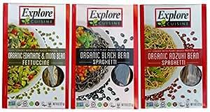 Explore Cuisine Organic Gluten Free Pasta 3 Flavor Variety Bundle: (1) Organic Black Bean Spaghetti, (1) Organic Edamame & Mung Bean Fettucine, and (1) Organic Adzuki Bean Spaghetti, 8 Oz. Ea