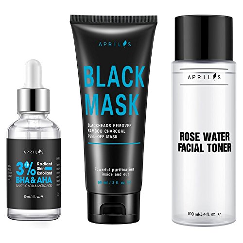 Aprilis Blackhead Remover Set, Scientific 3-Step Solution, Skin Exfoliant, Black Mask and Firming Facial Toner for...