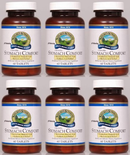 Nature's Sunshine Stomach Comfort Herbal and Mineral Dietary Supplement 60 chewable Tablets each (Pack of 6)