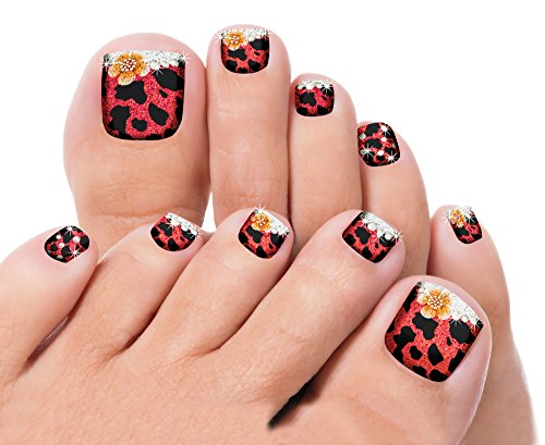 Pedicure Nail Stickers - Self Adhesive Toe Decals; Set of 22 (Nail Applique)