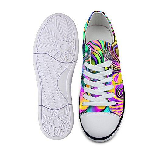 För U Designar Snygga Unisex Rand Wave Print Låg Topp Platta Skor Lätta Mode Sneaker Spets-up Multi A4