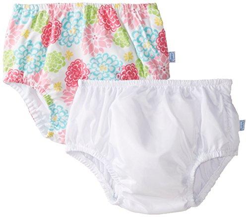 i play. Toddler Reusable Swim Diaper, White/White Zinnia, 3T (Pack of 2)