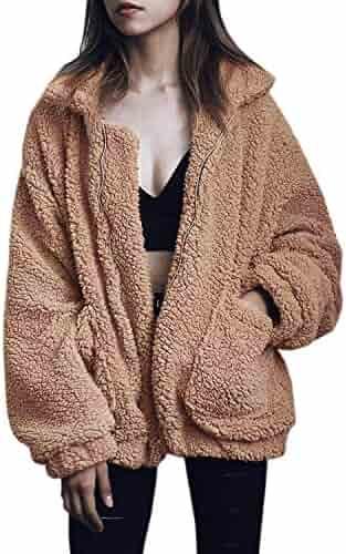 d5376423c6df Chunoy Women Casual Long Sleeve Lapel Zip up Faux Shearling Shaggy Winter  Warm Jacket Cardigan Coat