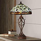 Traditional Table Lamp Blossoming Bronze Leaf and Vine Glass Shade for Living Room Family Bedroom Bedside Nightstand - Robert Louis Tiffany