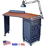 390 Manicure Nail Table Lockable Cabinet w/Cherry Laminated Top by Dina Meri