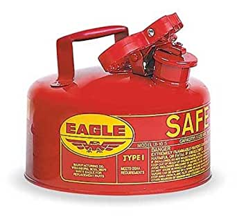 """Eagle UI-10-S Red Galvanized Steel Type I Gas Safety Can, 1 gallon Capacity, 8"""" Height, 9"""" Diameter"""
