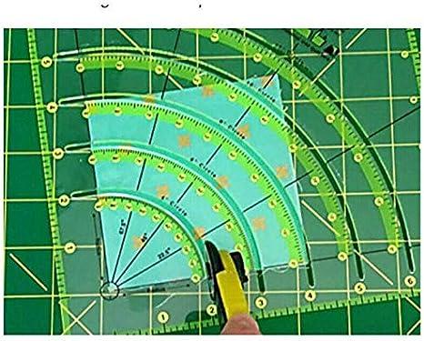N/ähwerkzeug Lineal Multifunktionales Schneiden Patchwork Lineal N/ähen Bastelwerkzeuge F/ür Einfaches Schneiden 1PCS Arcs Fan Quilt Kreisschneider Lineal