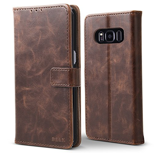 "Price comparison product image Galaxy S8 Plus Case, BELK Premium Retro Vintage Leather Classic Magnetic Flip Wallet Case with Hard PC Cover Kickstand Card Holder for Samsung Galaxy S8+/S8 Plus - 6.2"", Brown"
